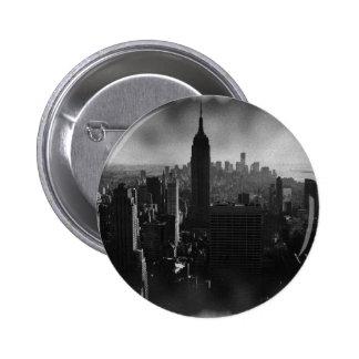 New York City negro y blanco Pin Redondo De 2 Pulgadas