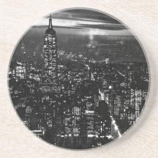 New York City negro y blanco Posavasos De Arenisca