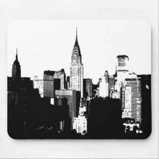 New York City negro y blanco Tapete De Ratón