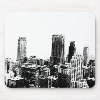 New York City negro y blanco Tapete De Raton