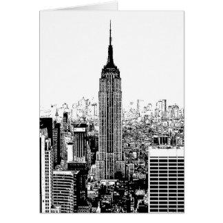 New York City negro y blanco Tarjetón