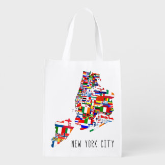 New York City Neighborhood Flags Grocery Bag