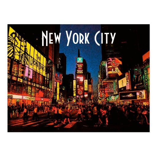 New york city neon postcard zazzle