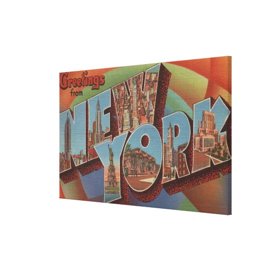 New York City, New York - Large Letter Scenes Canvas Print