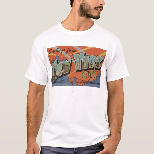 New York City, New York - Large Letter Scenes T-Shirt