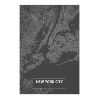 New York City, New York (white on black) Poster