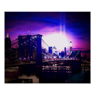 New York City Night Brooklyn Bridge Poster