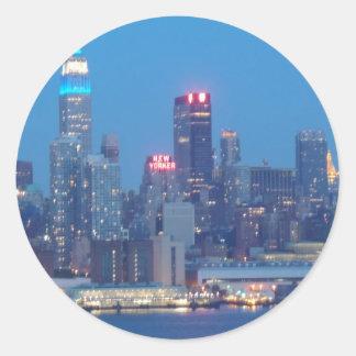 new york city night classic round sticker