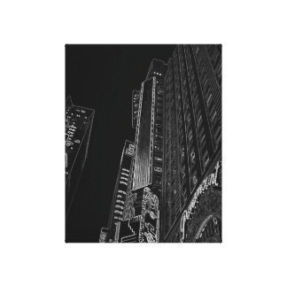 New York City Night Life Black and White Art 2 Stretched Canvas Prints