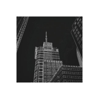 New York City Night Life Black and White Art 3 Stretched Canvas Print