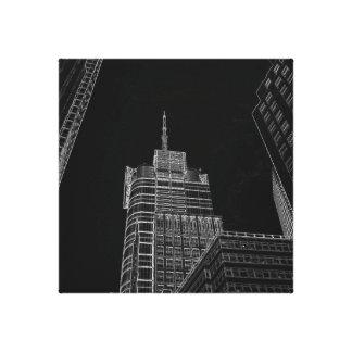 New York City Night Life Black and White Art 3 Canvas Print