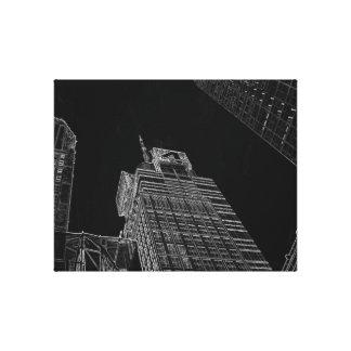 New York City Night Life Black and White Art 6 Canvas Print
