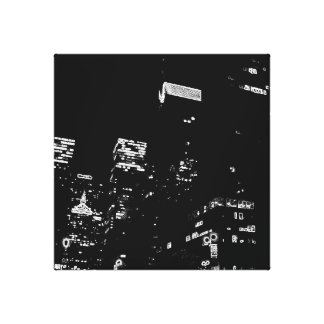 New York City Night Life Black and White Art 7 Canvas Print