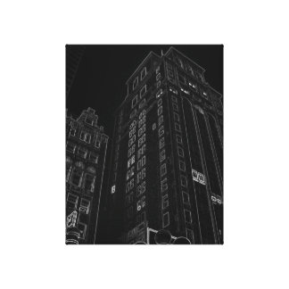 New York City Night Life Black and White Art 9 Gallery Wrapped Canvas