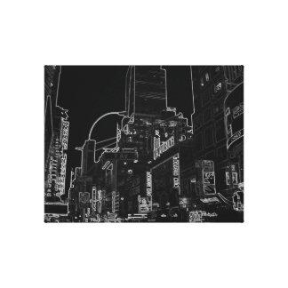 New York City Night Life Black and White Art Canvas Print