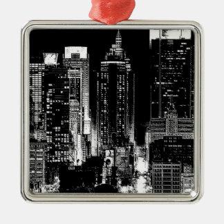New York City Night Metal Ornament