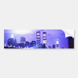 New York City Night Panorama Car Bumper Sticker