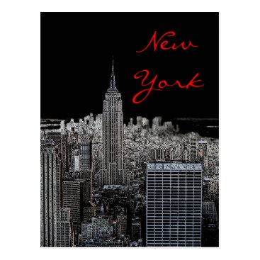 USA Themed New York City Night Pop Art Script Postcard