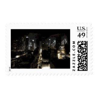 New York City Night Postage Stamp