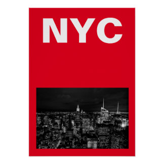New York City Night Red Poster