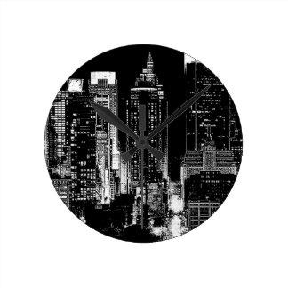 New York City Night Round Clock