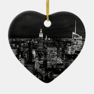 New York City Night Skyline Ceramic Ornament