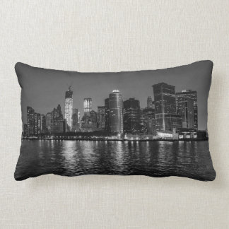 New York City Night Skyline Lumbar Pillow