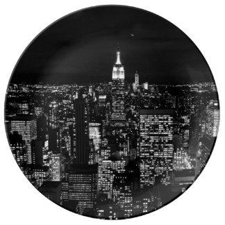 New York City night skyline Porcelain Plate