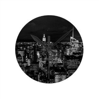 New York City Night Skyline Round Clock