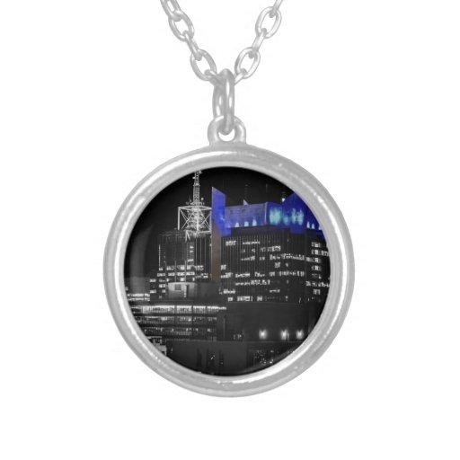 New York City Night Skyline Round Pendant Necklace