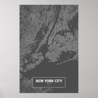 New York City, Nueva York (blanca en negro) Poster