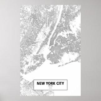 New York City, Nueva York (negro en blanco) Póster