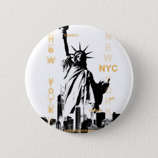 New York City Ny Nyc Statue of Liberty Pinback Button