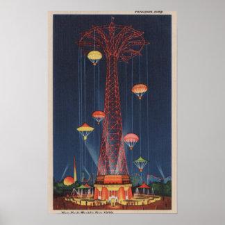 New York City, NY - salto de paracaídas en el mund Posters