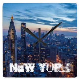 New York City, NY, USA Square Wall Clock
