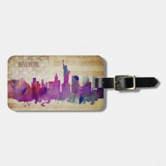 New York City, NY | Watercolor City Skyline Bag Tag
