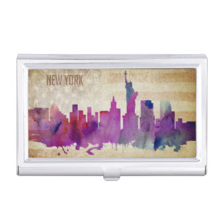 New York City, NY | Watercolor City Skyline Business Card Holder