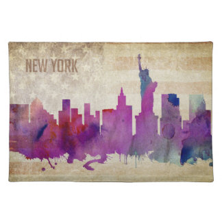New York City, NY | Watercolor City Skyline Cloth Placemat