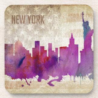 New York City, NY | Watercolor City Skyline Drink Coaster