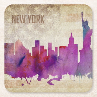 New York City, NY | Watercolor City Skyline Square Paper Coaster
