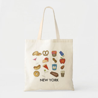 New York City NYC Foods Icons Foodie Bagel Pretzel Tote Bag