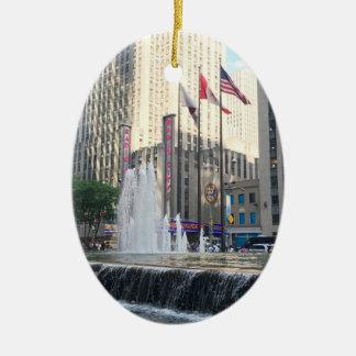New York City NYC Fountain Sixth Avenue Photograph Ceramic Ornament