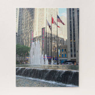 New York City NYC Fountain Sixth Avenue Photograph Jigsaw Puzzle