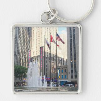 New York City NYC Fountain Sixth Avenue Photograph Keychain