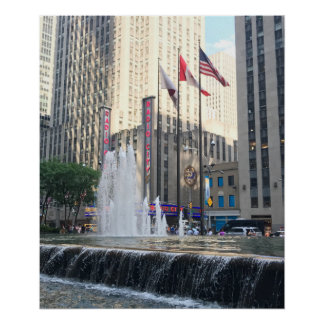 New York City NYC Fountain Sixth Avenue Photograph Poster