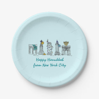 New York City NYC Happy Hanukkah Holiday Plates