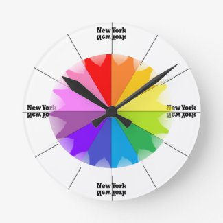 New York City NYC Rainbow Colorwheel CricketDiane Round Clock