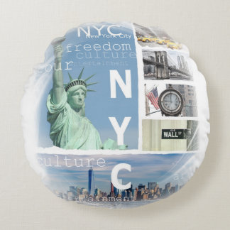 New York City Nyc Round Pillow