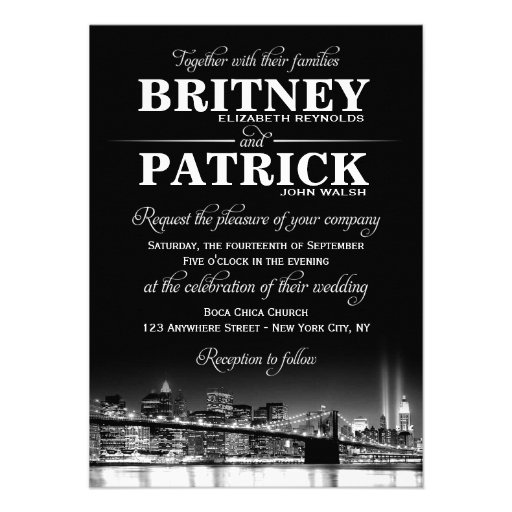 New york city nyc skyline wedding invitations 45quot x 625 for Wedding invitation companies nyc