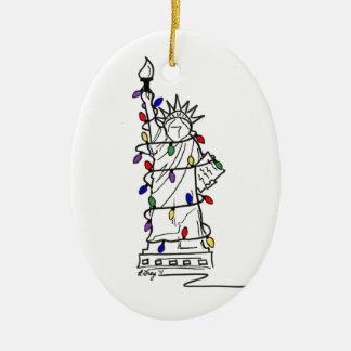 New York City NYC Statue Liberty Christmas Lights Ceramic Ornament